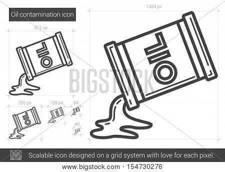 Oil contamination vector line icon isolated on white background. Oil contamination line icon for infographic, website or app. Scalable icon designed on a grid system.