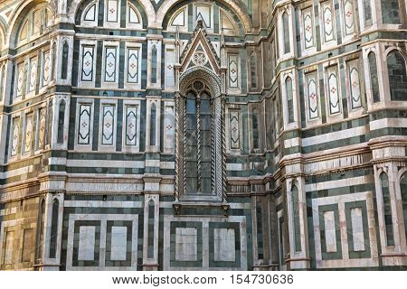 FLORENCE, ITALY - SEPTEMBER 2016 : Exterior of Florence Cathedral (Santa Maria del Fiore) in Florence, Italy on September 21, 2016.