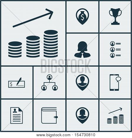 Set Of Hr Icons On Wallet, Pin Employee And Employee Location Topics. Editable Vector Illustration.