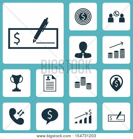 Set Of Hr Icons On Bank Payment, Coins Growth And Business Deal Topics. Editable Vector Illustration