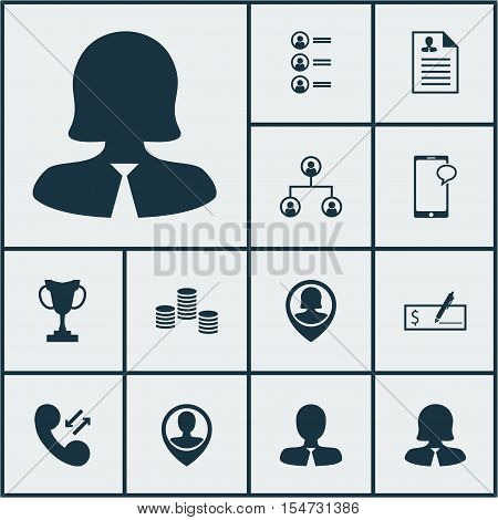 Set Of Human Resources Icons On Pin Employee, Tree Structure And Money Topics. Editable Vector Illus