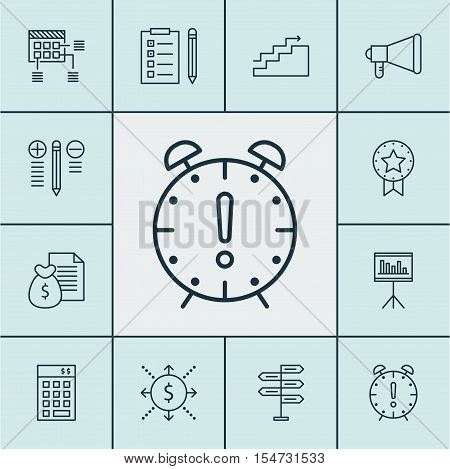 Set Of Project Management Icons On Announcement, Present Badge And Growth Topics. Editable Vector Il