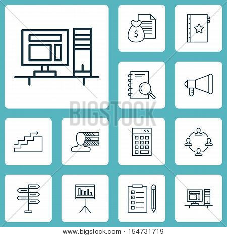 Set Of Project Management Icons On Report, Announcement And Analysis Topics. Editable Vector Illustr