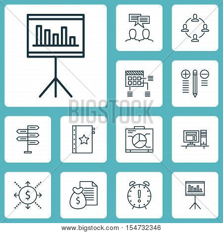 Set Of Project Management Icons On Board, Discussion And Time Management Topics. Editable Vector Ill