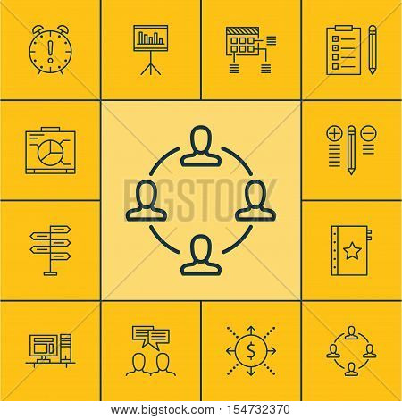 Set Of Project Management Icons On Presentation, Decision Making And Time Management Topics. Editabl