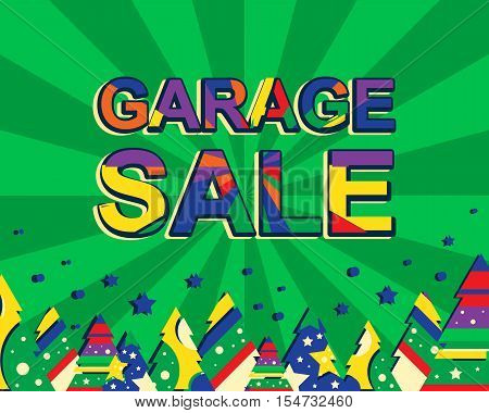 Big winter sale poster with GARAGE SALE text. Advertising banner template with christmas trees. Green background
