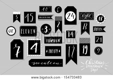 Abstract black and white twenty four christmas countdown printable tags collection. Advent calendar. Vector illustration