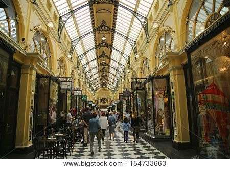 MELBOURNE, AUSTRALIA - JANUARY 24, 2016: Historic Royal Arcade in Melbourne. The Royal Arcade is an historic shopping arcade in the central business district of Melbourne, Victoria