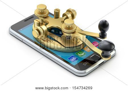 Communication concept with morse code telegraphy device on the mobile phone - 3D illustration