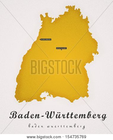 Baden-Wuerttemberg Germany DE Art Map colored illustration