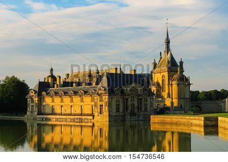 Famous Chateau de nn (Chantilly Castle). Oise France