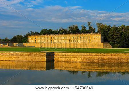 Famous Chateau de Chantilly (Chantilly Castle). Oise France