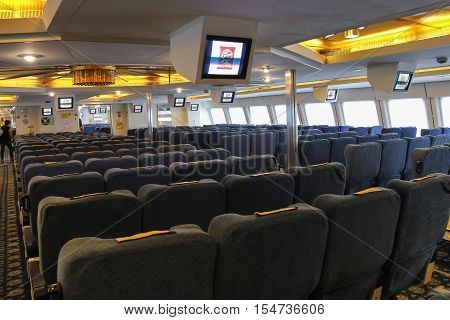 Piombino Italy - June 30 2015: Passenger boat compartment aboard the Corsica Express