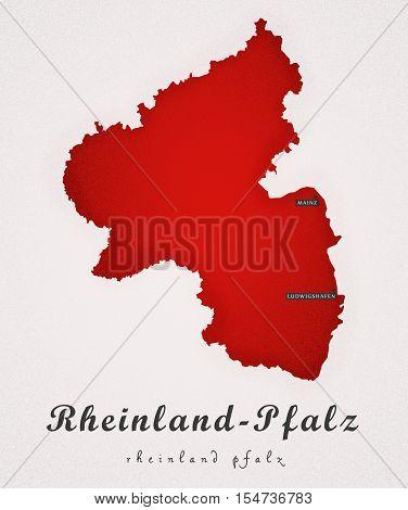 Rheinland Pfalz Germany DE Art Map colored illustration