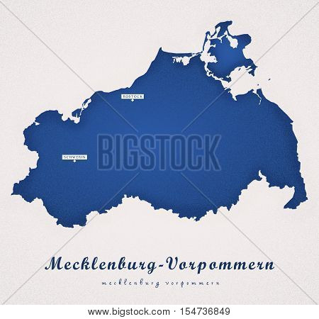 Mecklenburg Vorpommern Germany DE Art Map colored illustration
