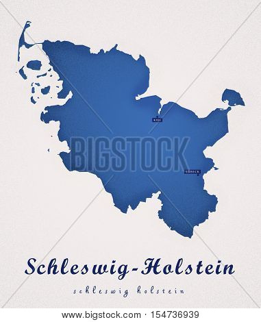Schleswig Holstein Germany DE Art Map colored illustration
