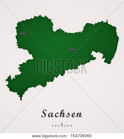 Sachsen Germany DE Art Map colored illustration