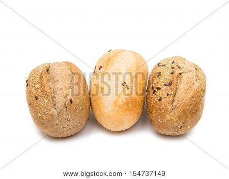 French rolls baked on a white background