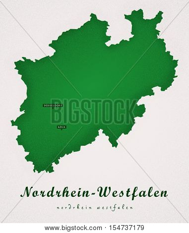 Nordrhein Westfalen Germany DE Art Map illustration