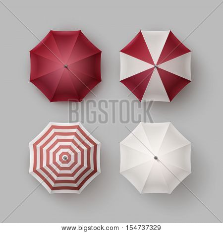 Vector Set of White Red Vinous Striped Blank Classic Opened Round Rain Umbrella Parasol Sunshade Top View Mock up Close up Isolated on Background