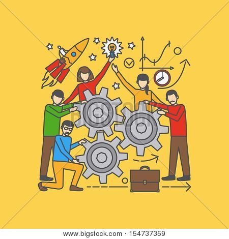 Vector team learning conceptual illustration on yellow background
