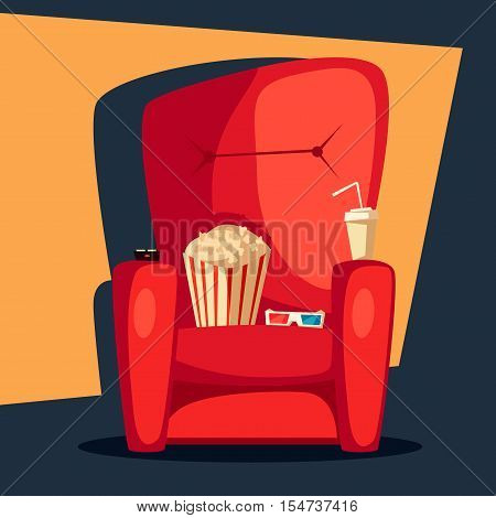 Movie night. Home cinema watching. Cartoon vector illustration. Red sofa. Web, banner and logo design. Popcorn, cola and 3d glasses. Vintage style. Food and drink
