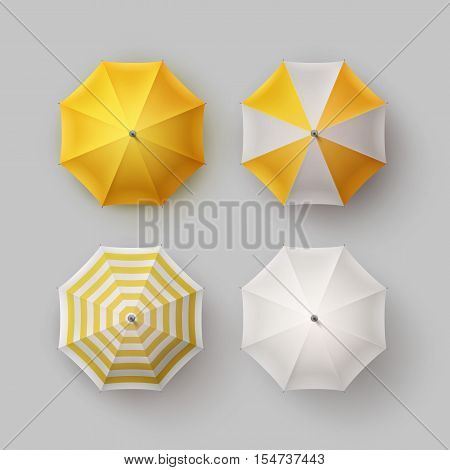 Vector Set of White Yellow Striped Blank Classic Opened Round Rain Umbrella Parasol Sunshade Top View Mock up Close up Isolated on Background