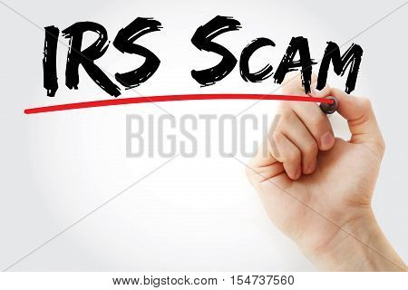 Hand Writing Irs Scam With Marker