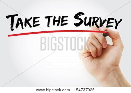 Hand Writing Take The Survey With Marker