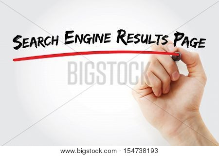 Hand writing Search Engine Results Page with marker concept background