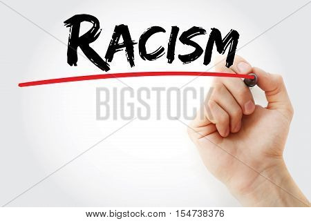 Hand Writing Racism With Marker
