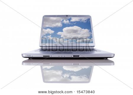 Cloud computing concept in a modern laptop isolated on white