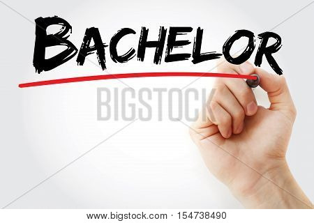 Hand Writing Bachelor With Marker