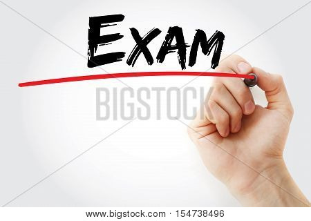 Hand Writing Exam With Marker