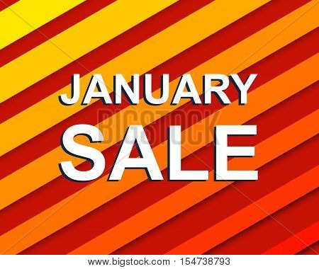 Red striped sale poster with JANUARY SALE text. Bright advertising banner template