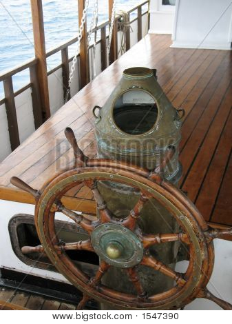 Ships Wheel, Brass Binnacle & Compass