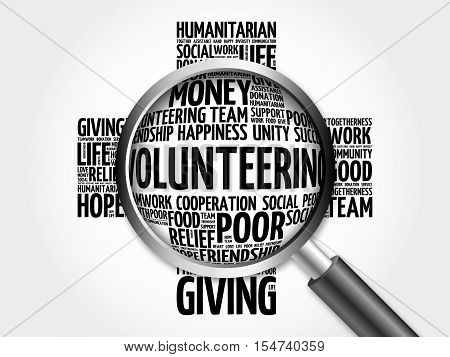 Volunteering Word Cloud With Magnifying Glass
