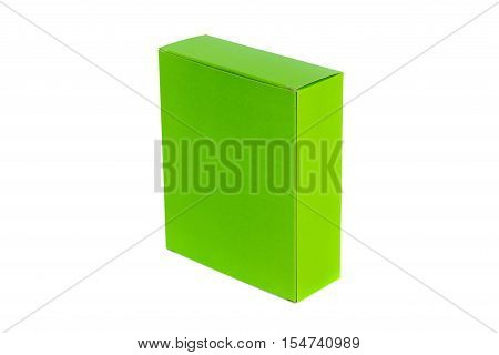 Green Box Or Green Paper Package Box Isolated On White Background