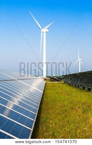 Solar Panel On Grassy Field in countryside with skyline.