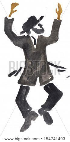 Watercolor artwork. Religious Jewish dance. Jewish man dancing.