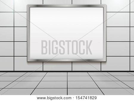 Empty mock-up big billboard inside metro or subway. Vector Illustration isolated on white background.