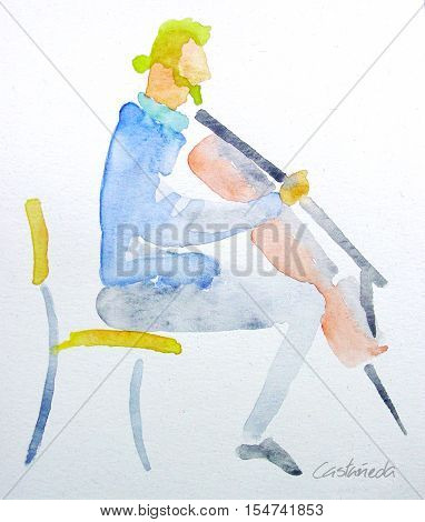 Watercolor artwork. Jazz Musician playing the Cello.