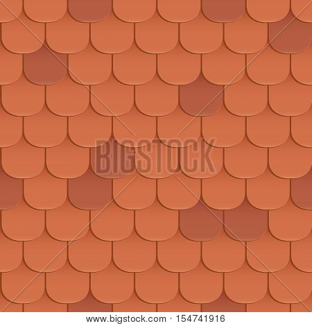 Shingles roof seamless pattern. Orange color. Classic style. Vector illustration