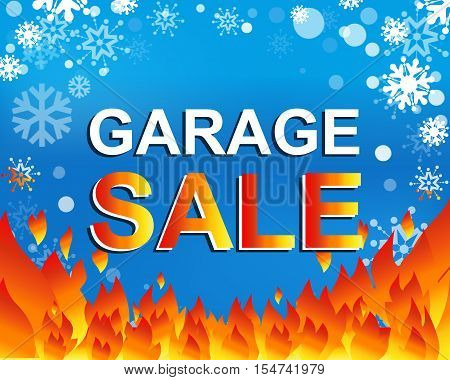 Big winter sale poster with GARAGE SALE text. Advertising blue and red banner template