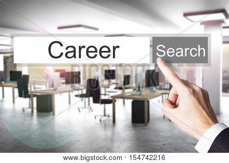 websearch career grey search button modern office 3D Illustration
