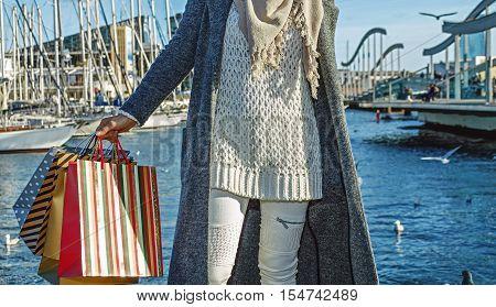 Elegant Fashion-monger On Embankment In Barcelona, Spain