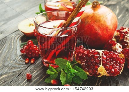 Sangria With Apples, Pomegranate, Mint And Cinnamon