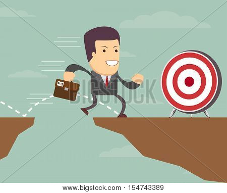 A businessman is running with a suitcase to the target. He is jumping over the abyss.