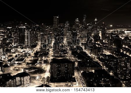 A night shot of the city of Seattle, US