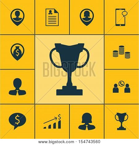 Set Of Human Resources Icons On Pin Employee, Business Deal And Business Woman Topics. Editable Vect